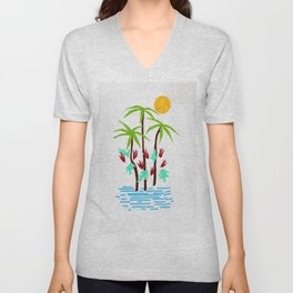 Tropical abstraction Unisex V-Neck