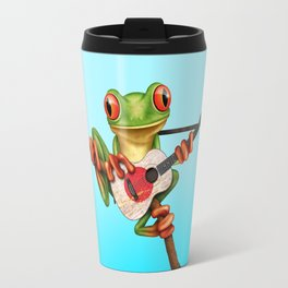 Tree Frog Playing Acoustic Guitar with Flag of Japan Travel Mug