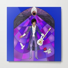 Purple Messiah Prince Stained Glass Metal Print