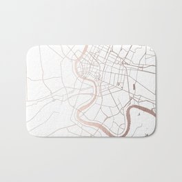 Bangkok Thailand Minimal Street Map - Rose Gold Pink and White Bath Mat