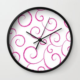 Hot Pink Scroll Swirls Wall Clock