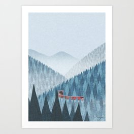 Train in the mist Art Print