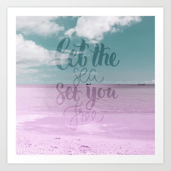 Let the Sea set you Free- Pink Summer Beach Sea Ocean Nature on #Society6 Art Print