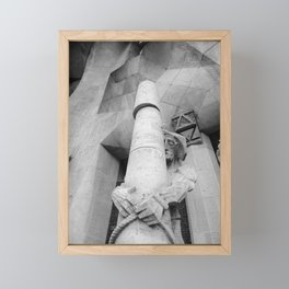 Passion Facade Sagrada Familia BW Framed Mini Art Print