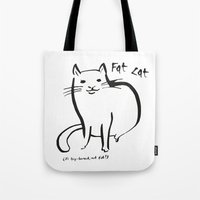 my mad fat diary Tote Bags featuring Fat Cat by Josh Filhol
