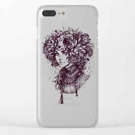 Night Cat Witch _ line art Clear iPhone Case