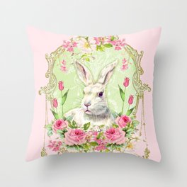 Spring Bunny Throw Pillow
