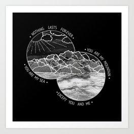 mountains-biffy clyro (black version) Art Print