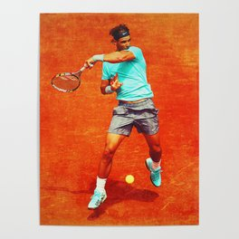 Rafael Nadal Tennis On Clay Poster
