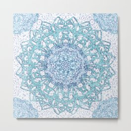 Aqua Lace Mandala Metal Print