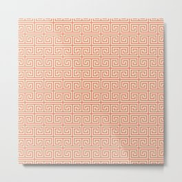 Meander Pattern in Red & Yellow Metal Print