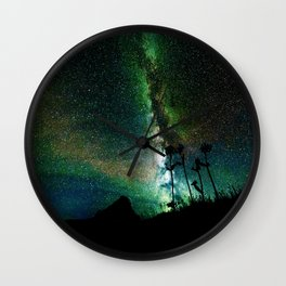 Green Teal Milky Way Landscape Wall Clock