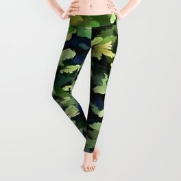 Foliage Abstract Pop Art In Green and Blue Leggings