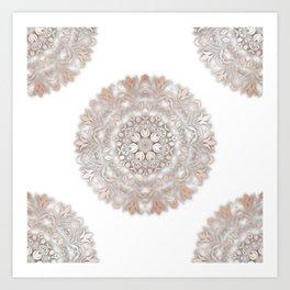 Rose Gold White Floral Mandala Art Print