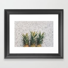 Pineapples and Marble Abstract Framed Art Print
