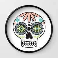 sugar skull Wall Clocks featuring Sugar Skull by Liz Urso