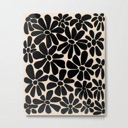 Black and White Retro Floral Art Print  Metal Print