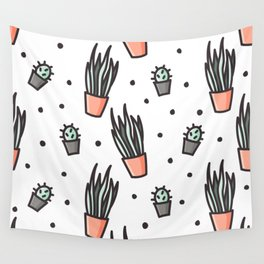 Sansevieria and cactus doodles Wall Tapestry