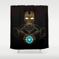 ironman Shower Curtains featuring IRONMAN - IRONMAN ARC REACTOR by alexa