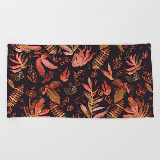 brown watercolor leaves Beach Towel