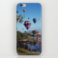 hot air balloon iPhone & iPod Skins featuring Hot air balloon scene by Bruce Stanfield
