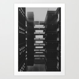 GRAYSCALE PHOTOGRAPHY OF NETWORK CABINETS Art Print