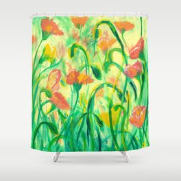Sun drenched Poppies Shower Curtain