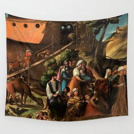 1520 Classical Masterpiece 'Entering into the Ark' by Dosso Dossi Wall Tapestry
