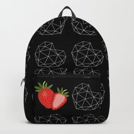 Geometric berry heart pattern design on black #Society6 Backpack