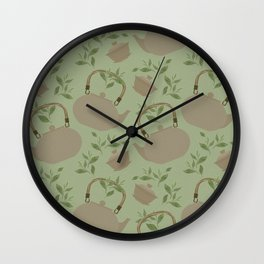 Seamless pattern with items for traditional Chinese tea drinking. The kettle, gaiwan and the green tea leaves. Wall Clock
