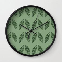 Tropical foliage Green #tropical #leaves #homedecor Wall Clock