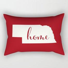 Nebraska is Home - White on Red Rectangular Pillow