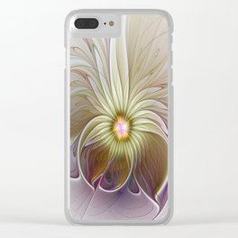 Fantasy Flower, Abstract Fractal Art Clear iPhone Case