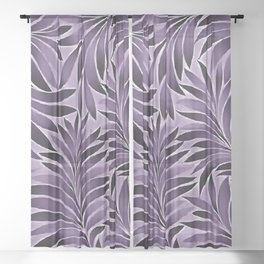 Awesome Leaves Pattern In Lilac and Grey Sheer Curtain