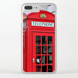 Red Booths, London Clear iPhone Case