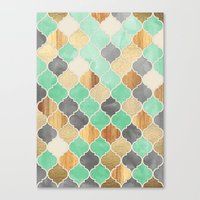 bedding Canvas Prints featuring Charcoal, Mint, Wood & Gold Moroccan Pattern by micklyn