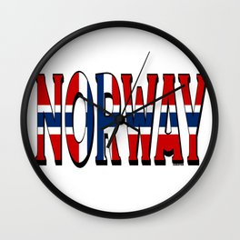 Norway Font With Norwegian Flag 2 Wall Clock