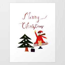 Merry Christmas Scene Art Print