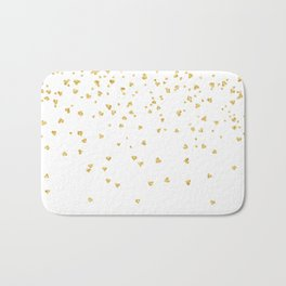 Falling hearts gold glitter confetti - Heart Love Valentine Bath Mat
