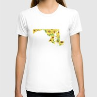 maryland T-shirts featuring Maryland in Flowers by Ursula Rodgers