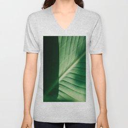 Close Up Of Green Tropical Textured Leaf Unisex V-Neck