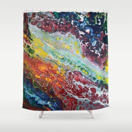 Cellular Colorful Chaos Shower Curtain