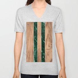 Wood Grain Stripes - Green Granite #901 Unisex V-Neck