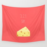 pasta Wall Tapestries featuring '3...2..1 Say Cheese!' by aPersonalidea