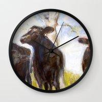 chicago bulls Wall Clocks featuring 3 Bulls  by Sabine Weissbach