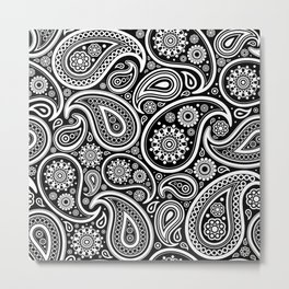 Oriental Persian Paisley, Dots - Black White Metal Print