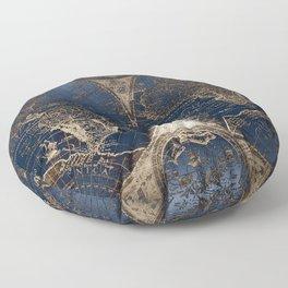 World Map Deep Blue and Gold Floor Pillow