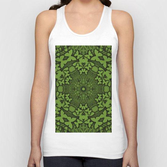 Butterfly kaleidoscope in green Unisex Tank Top