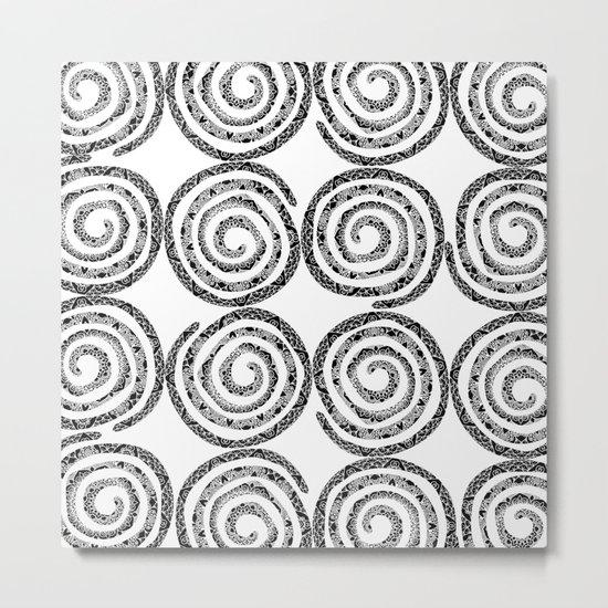 Black & White Patterned Spirals Metal Print
