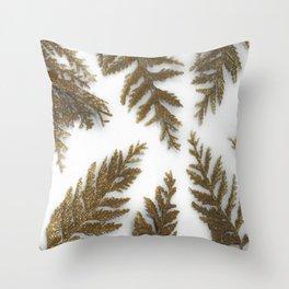 Golden Palm on White Throw Pillow